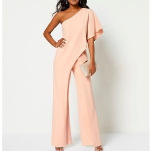 Adrianna Papell One Shoulder Blush Dress Jumpsuit